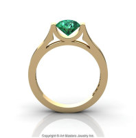 Modern 14K Yellow Gold Designer Wedding Ring or Engagement Ring for Women with 1.0 Ct Emerald Center Stone R665-14KYGEM-1