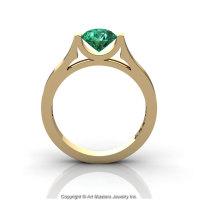 Modern 14K Yellow Gold Designer Wedding Ring or Engagement Ring for Women with 1.0 Ct Emerald Center Stone R665-14KYGEM-1
