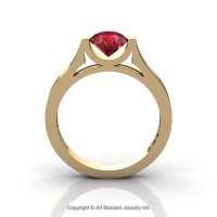 Modern 14K Yellow Gold Designer Wedding Ring or Engagement Ring for Women with 1.0 Ct Ruby Center Stone R665-14KYGR-1
