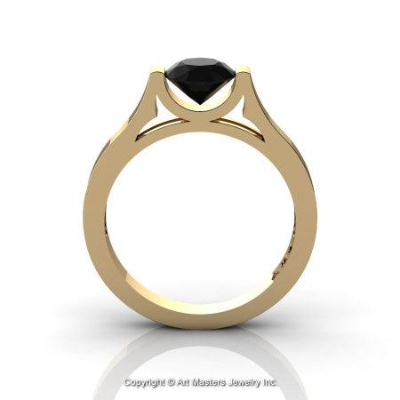 Modern 14K Yellow Gold Designer Wedding Ring or Engagement Ring for Women with 1.0 Ct Black Diamond Center Stone R665-14KYGBD-1