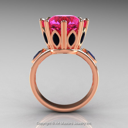 Classic 14K Rose Gold 5.0 Ct Pink Sapphire Marquise Black Diamond Solitaire Ring R160-14KRGBDPS-1