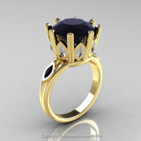 Classic 14K Yellow Gold 5.0 Ct Black Diamond Marquise CZ Solitaire Ring R160-14KYGCZBD-1