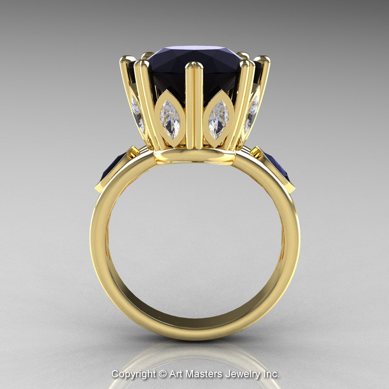Classic 14K Yellow Gold 5 0 Ct Black Diamond Marquise CZ Solitaire
