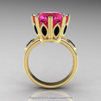 Classic 14K Yellow Gold 5.0 Ct Pink Sapphire Marquise Black Diamond Solitaire Ring R160-14KYGBDPS-1