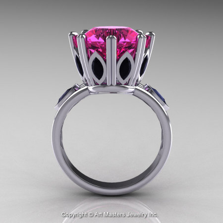 Classic 14K White Gold 5.0 Ct Pink Sapphire Marquise Black Diamond Solitaire Ring R160-14KWGBDPS-1