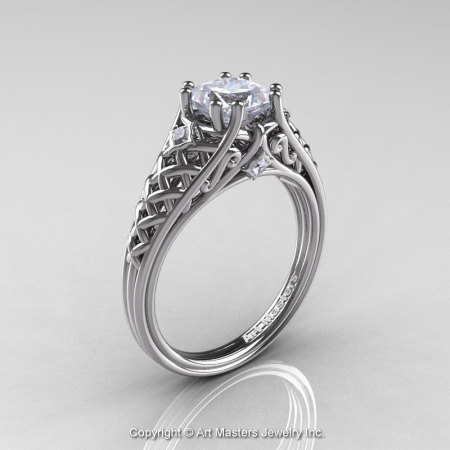 Classic French 950 Platinum 1.0 Ct Princess White Sapphire Diamond Lace Bridal Ring R175P-PLATDWS-1