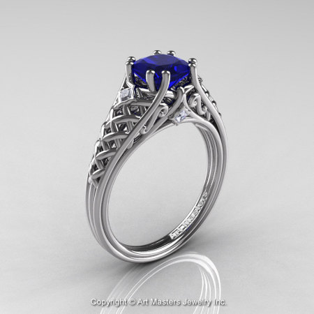 Classic French 14K White Gold 1.0 Ct Princess Blue Sapphire Diamond Lace Engagement Ring Wedding Band Set R175PS-14KWGDBS-2