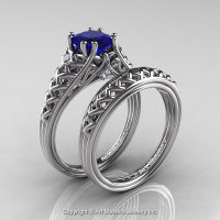 Classic French 14K White Gold 1.0 Ct Princess Blue Sapphire Diamond Lace Engagement Ring Wedding Band Set R175PS-14KWGDBS-1