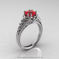 Classic French 14K White Gold 1.0 Ct Princess Ruby Diamond Lace Engagement Ring or Wedding Ring R175P-14KWGDR-1