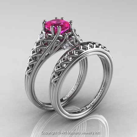 Classic French 14K White Gold 1.0 Ct Princess Pink Sapphire Diamond Lace Engagement Ring Wedding Band Set R175PS-14KWGDPS-1