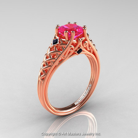 Classic French 14K Rose Gold 1.0 Ct Princess Pink Sapphire Black Diamond Lace Engagement Ring or Wedding Ring R175P-14KRGBDPS-1