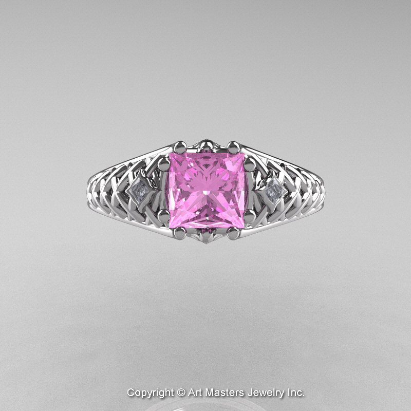Classic French 14K White Gold 1 0 Ct Princess Light Pink Sapphire Diamond Lac
