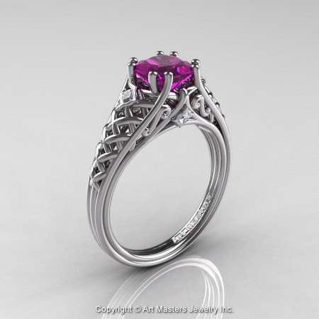 Classic French 14K White Gold 1.0 Ct Princess Amethyst Diamond Lace Engagement Ring or Wedding Ring R175P-14KWGDAM-1