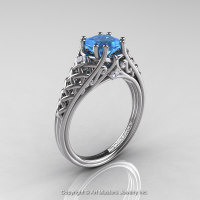 Classic French 14K White Gold 1.0 Ct Princess Blue Topaz Diamond Lace Engagement Ring Wedding Band Set R175PS-14KWGDBT-1