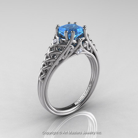 Classic French 14K White Gold 1.0 Ct Princess Blue Topaz Diamond Lace Engagement Ring Wedding Band Set R175PS-14KWGDBT-1