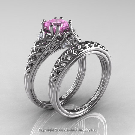 Classic French 14K White Gold 1.0 Ct Princess Light Pink Sapphire Diamond Lace Engagement Ring Wedding Band Set R175PS-14KWGDLPS-1