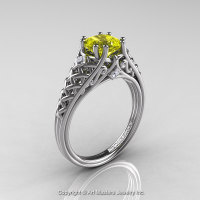 Classic French 14K White Gold 1.0 Ct Princess Yellow Sapphire Diamond Lace Engagement Ring or Wedding Ring R175P-14KWGDYS-1