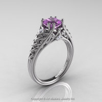 Classic French 14K White Gold 1.0 Ct Princess Lilac Amethyst Diamond Lace Engagement Ring or Wedding Ring R175P-14KWGDLAM-1