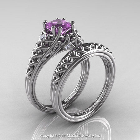 Classic French 14K White Gold 1.0 Ct Princess Lilac Amethyst Diamond Lace Engagement Ring Wedding Band Set R175PS-14KWGDLAM-1