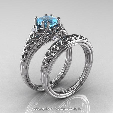 Classic French 14K White Gold 1.0 Ct Princess Aquamarine Diamond Lace Engagement Ring Wedding Band Set R175PS-14KWGDAQ-1