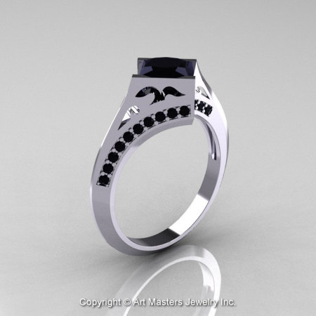 Modern French 14K White Gold 1.23 Ct Princess Black Diamond Engagement Ring Wedding Ring R176-14WGBD-1