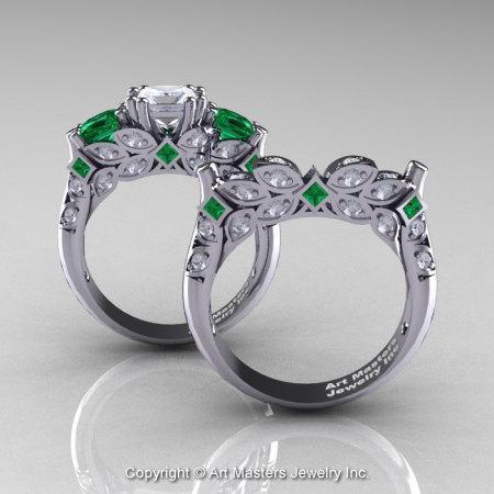 Classic 14K White Gold Three Stone Princess White Sapphire Emerald Diamond Solitaire Engagement Ring Wedding Band Set R500S-14KWGDEMWS-1