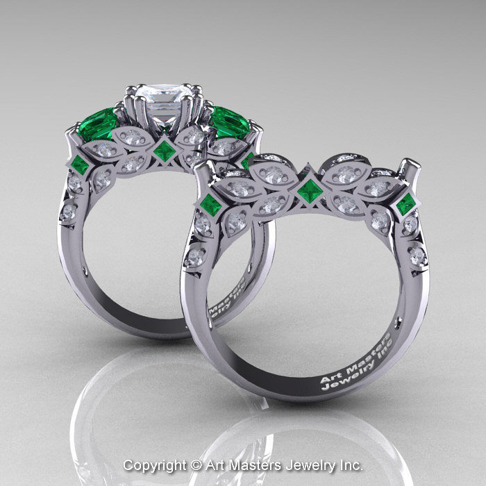 Classic 14K White Gold Three Stone Princess White Sapphire Emerald