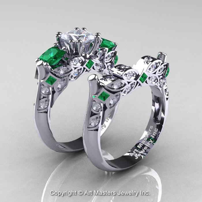Classic 14K White Gold Three Stone Princess Sapphire Emerald Diamond Solitaire Engagement Ring Wedding Band