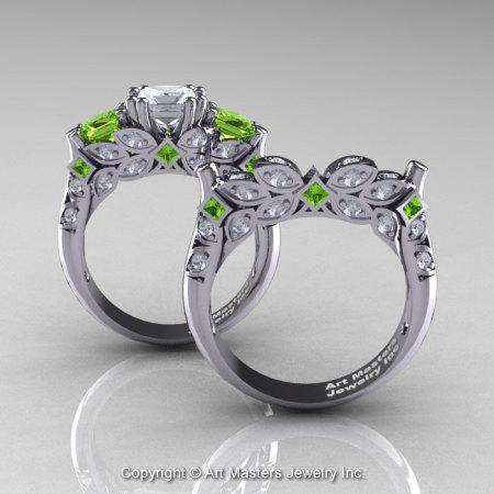 Classic 14K White Gold Three Stone Princess White Sapphire Peridot Diamond Solitaire Engagement Ring Wedding Band Set R500S-14KWGDPEWS-1