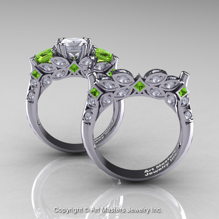 Classic 14K White Gold Three Stone Princess White Sapphire Peridot Diamond Solitaire Engagement
