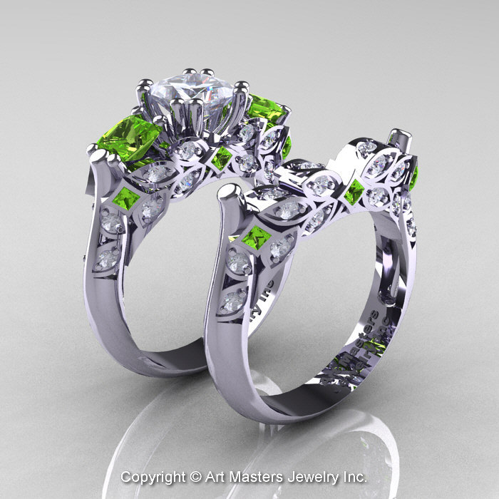 Classic 14k white gold three stone princess white sapphire for Peridot wedding ring set