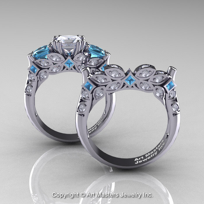 Clic 14k White Gold Three Stone Princess Cz Aquamarine Diamond Solitaire Engagement Ring Wedding Band Set