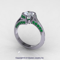 Modern French 14K White Gold 1.0 Ct White Sapphire Emerald Engagement Ring Wedding Ring R376-14KWGEMWS-1