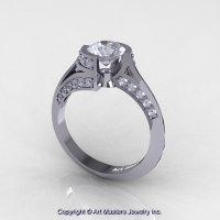 Modern French 14K White Gold 1.0 Ct White Sapphire Diamond Engagement Ring Wedding Ring R376-14KWGDWS-1