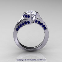 Modern French 14K White Gold 1.0 Ct White Sapphire Blue Sapphire Engagement Ring Wedding Ring R376-14KWGBSWS-1