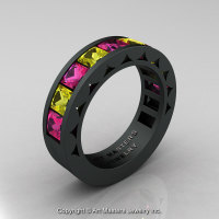 Reserved - Split Two - Mens Modern 14K Matte Black Gold Princess Pink and Yellow Sapphire Channel Cluster Sun Wedding Ring R274-14MBGYSPS-1