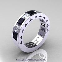 Mens Modern 14K White Gold Princess Black Diamond White Topaz Channel Cluster Wedding Ring R274-14KWGWTBD-1