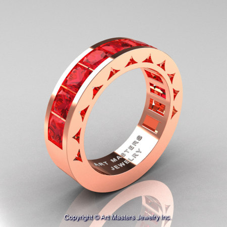 Mens Modern 14K Rose Gold Princess Rubies Channel Cluster Wedding Ring R274-14KRGR-1
