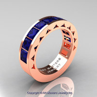 Mens Modern 14K Rose Gold Princess Blue Sapphire Channel Cluster Wedding Ring R274-14KRGBS-1