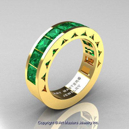 Mens Modern 14K Yellow Gold Princess Emerald Channel Cluster Wedding Ring R274-14KYGEM-1