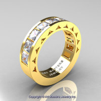 Mens Modern 14K Yellow Gold Princess White Sapphire Channel Cluster Wedding Ring R274-14KYGWS-1