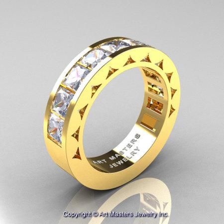Mens Modern 14K Yellow Gold Princess White Sapphire Channel Cluster Wedding Ring R274-14KYGWS-1
