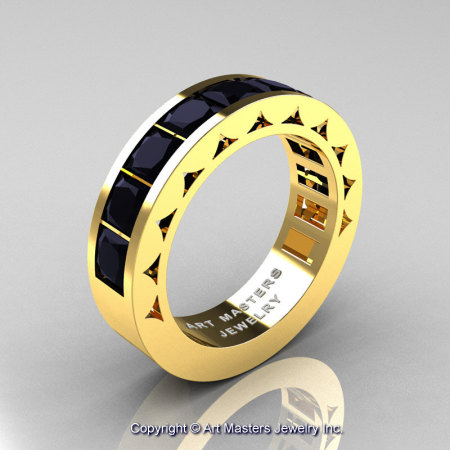 Mens Modern 14K Yellow Gold Princess Black Diamond Channel Cluster Wedding Ring R274-14KYGBD-1
