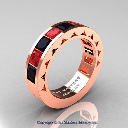 Mens Modern 14K Rose Gold Princess Black Diamond Ruby Channel Cluster Wedding Ring R274-14KRGRBD-1