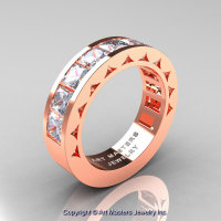 Mens Modern 14K Rose Gold Princess White Sapphire Channel Cluster Wedding Ring R274-14KRGWS-1