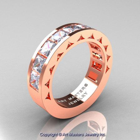 Mens Modern 14K Rose Gold Princess White Sapphire Channel Cluster Wedding Ring R274-14KRGWS-1