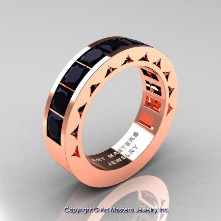 Mens Modern 14K Rose Gold Princess Black Diamond Channel Cluster Wedding Ring R274-14KRGBD-1