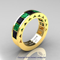 Mens Modern 14K Yellow Gold Princess Black Diamond Emerald Channel Cluster Wedding Ring R274-14KYGEMBD-1