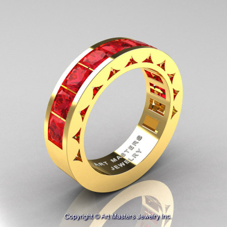 Mens Modern 14K Yellow Gold Princess Rubies Channel Cluster Wedding Ring R274-14KYGR-1