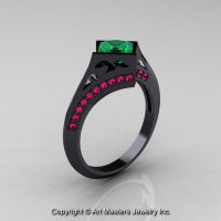 Exclusive French 14K Black Gold 1.23 CT Princess Emerald Pink Sapphire Engagement Ring R176-14BGPSEM-1